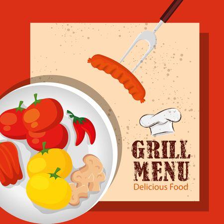 grill menu with delicious vegetables in dish vector illustration design Illusztráció