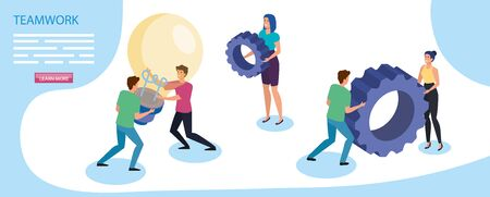 work team group with gears and light bulb vector illustration design