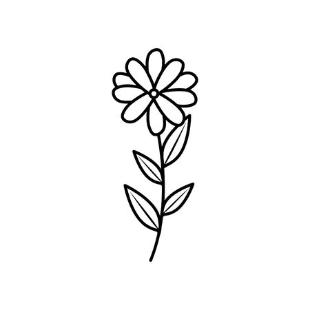 cute flower with branch and leafs line style icon vector illustration design