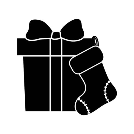 silhouette of gift box with sock christmas vector illustration design
