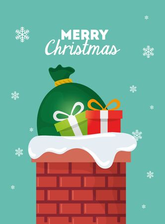 merry christmas poster with gift boxes and bags presents in chimney vector illustration design Illustration