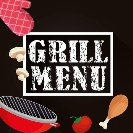 grill menu with oven and delicious food vector illustration design Illusztráció