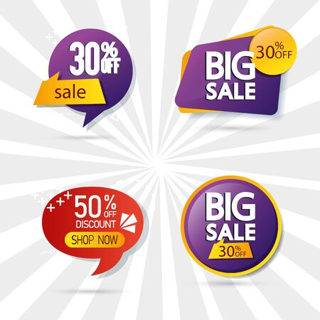 set commercial labels with lettering offer vector illustration design 向量圖像