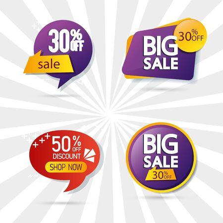 set commercial labels with lettering offer vector illustration design Illustration