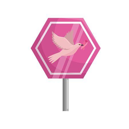 stick signage of the fight cancer against breast vector illustration design Ilustração
