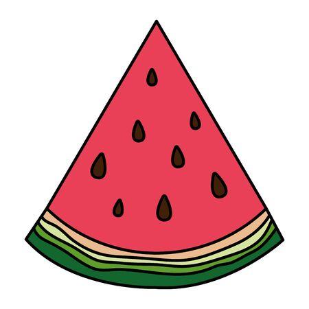 fresh watermelon tropical fruit portion vector illustration design Ilustração