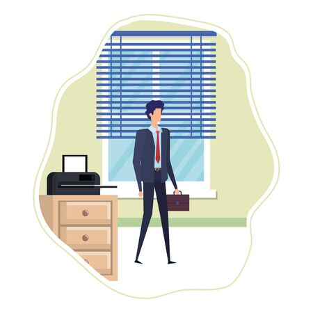 elegant businessman in the workplace character vector illustration design