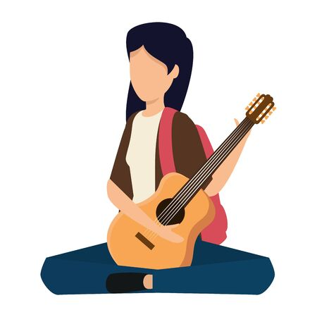young woman playing guitar instrument vector illustration design Stok Fotoğraf - 133674497