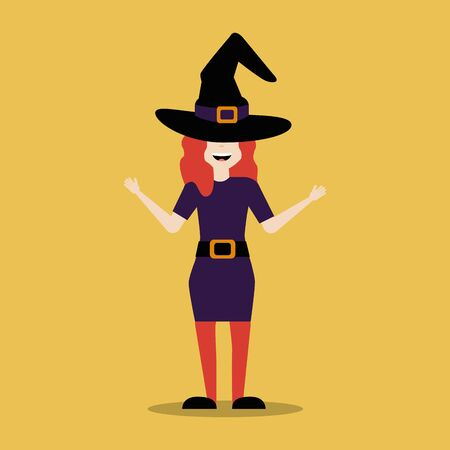 young woman disguised of witch vector illustration design