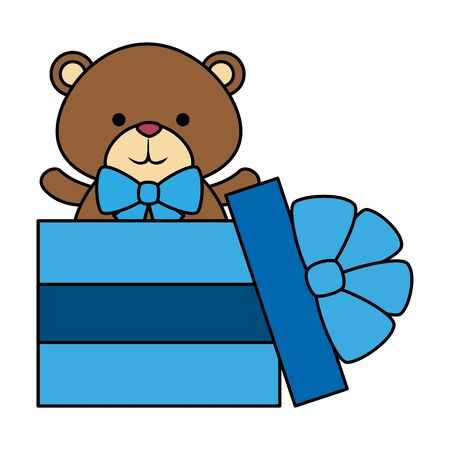 gift with cute little bear teddy and bowtie vector illustration design
