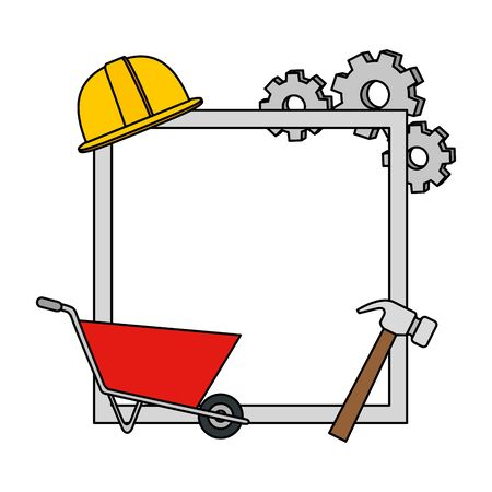 metal plate with wheelbarrow and tools vector illustration design