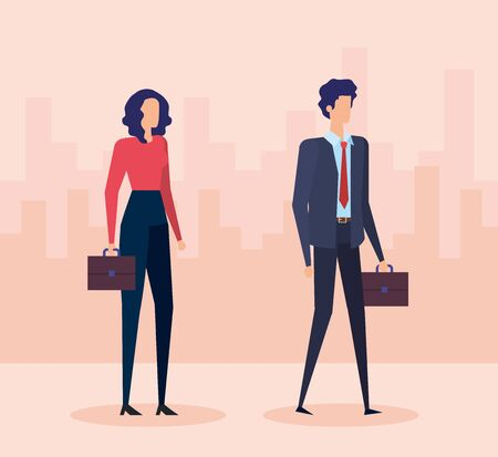 businesswoman and businessman with elegant clothes and suitcase to office success, vector illustration