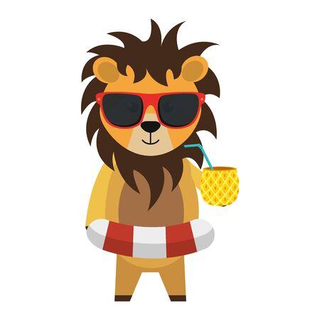 cute lion with float and pineapple cocktail vector illustration design