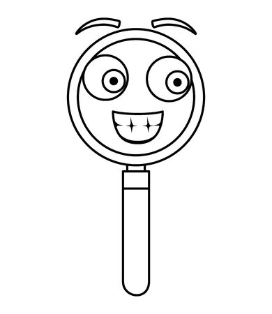 search magnifying glass   character vector illustration design Çizim