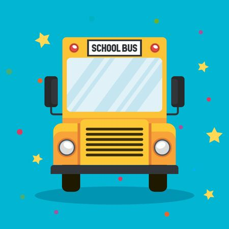 school bus vehicle transport to students with stars and points vector illustration
