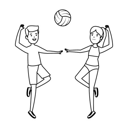 happy athletic couple practicing volleyball vector illustration design Ilustração
