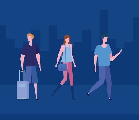 woman and men with hairstyle and casual clothes with baggage over blue city scape background, vector illustration