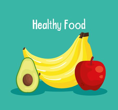 fresh avocado with bananas and apple fruits to healthy food vector illustration