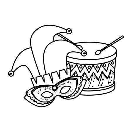 carnival mask with joker hat and drum vector illustration design Ilustrace