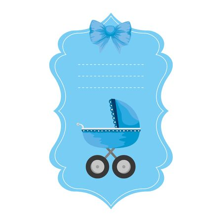 baby shower card with cart vector illustration design