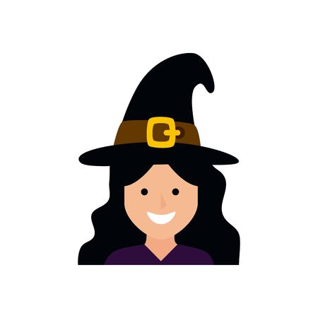 girl disguised witch avatar character vector illustration design Illustration