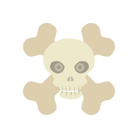 halloween skull with bones crossed vector illustration design