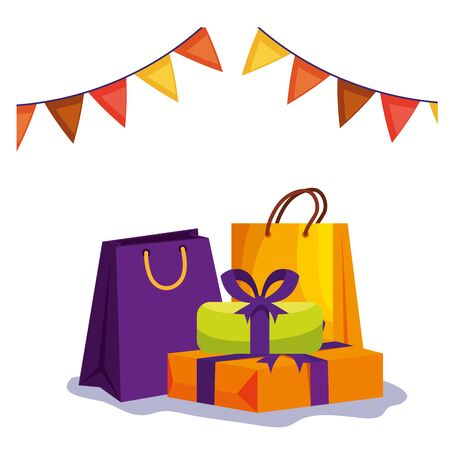 gift boxes and shopping bags with garlands vector illustration design Illustration