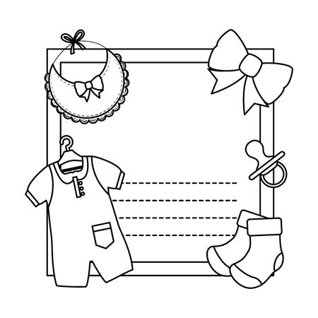 baby shower card with clothes and bowtie vector illustration design Illustration