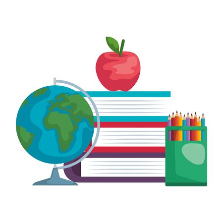 pile textbooks with world map and colors pencils vector illustration design Stock fotó - 133633673
