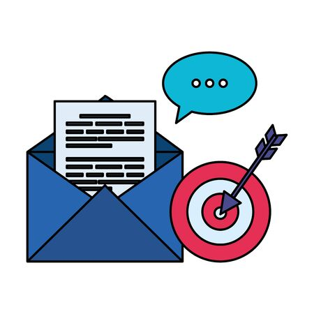 envelope mail with speech bubble and target vector illustration design