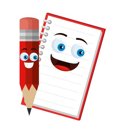 pencil school and notebook characters vector illustration design