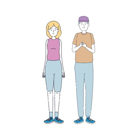 young couple friends avatars characters vector illustration design