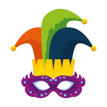 carnival mask with joker hat vector illustration design Ilustrace