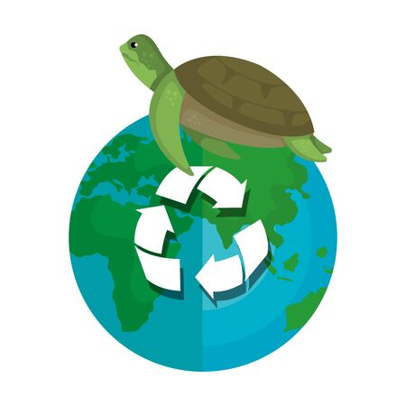 turtle with world planet and arrows recycle vector illustration design 일러스트