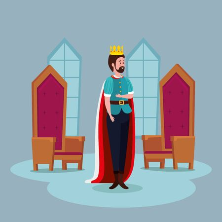 king with chairs in castle fairytale vector illustration design Illustration