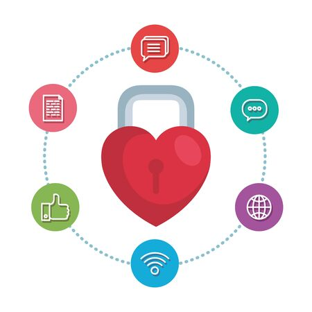 padlock with heart shape and social media icons vector illustration design