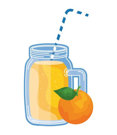 juice orange fruit beverage jar with straw vector illustration design Ilustracja