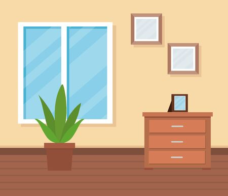 home livingroom with window and pictures with plant to interior decoration, vector illustration Illusztráció