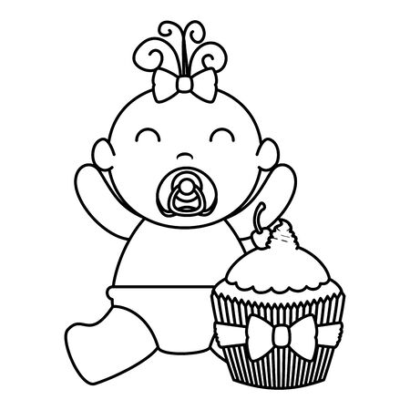 cute little baby girl with sweet cupcake vector illustration design  イラスト・ベクター素材