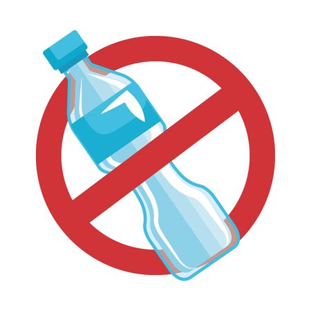plastic bottle with denied symbol recycle icon vector illustration design 일러스트