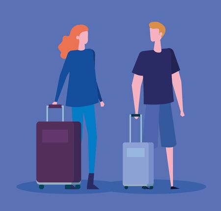 woman and man with casual clothes and baggages over blue background, vector illustration Иллюстрация