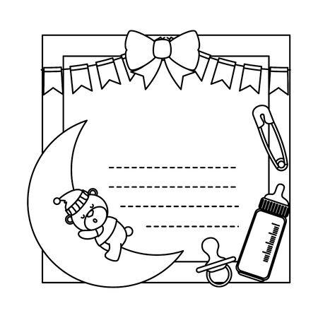 baby shower card with bear sleeping in moon vector illustration design Standard-Bild - 133639754