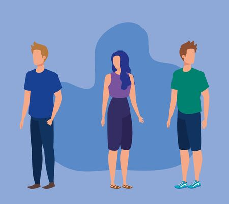 woman and men with hairstyle and casual clothes over purple background, vector illustration Foto de archivo - 133641383
