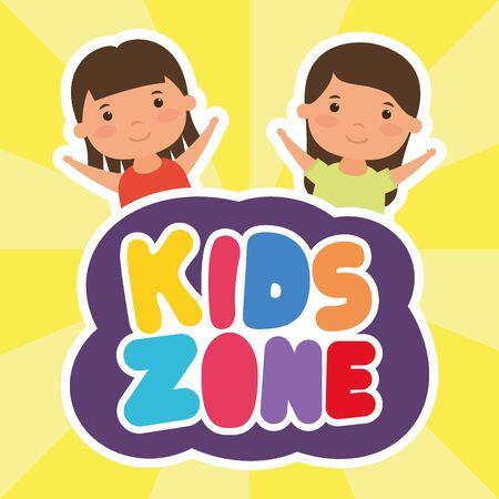 little girls with kids zone lettering vector illustration design
