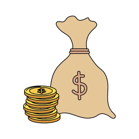 money bag with coins economy icons vector illustration design