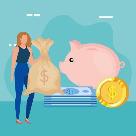 young woman with money bag character vector illustration design Stock Illustratie