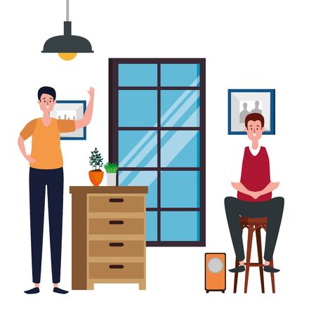 men in house place with drawer scene vector illustration design