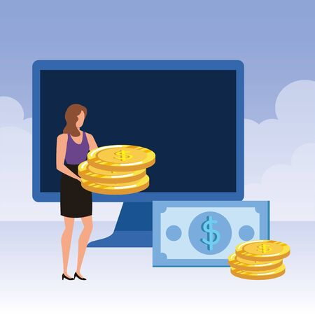 young woman with desktop and money vector illustration design