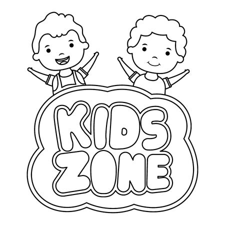 cute little boys with kids zone lettering vector illustration design