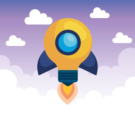 bulb idea rocket media with clouds to business strategy, vector illustration Ilustração